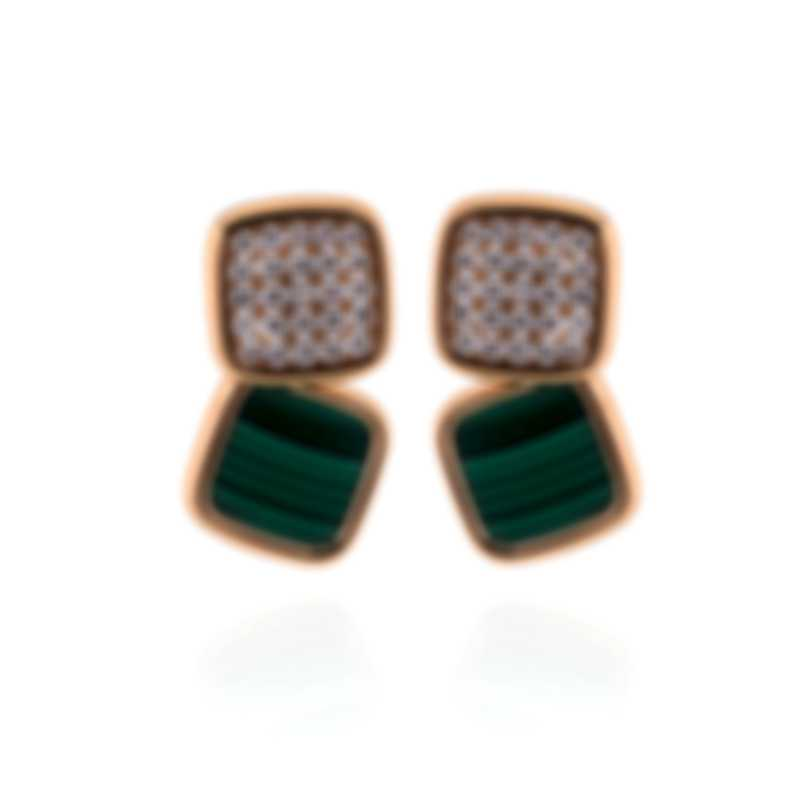 Roberto Coin 18k Rose Gold Diamond(0.95ct Twd) Malachite Earrings 8882328AXERJ