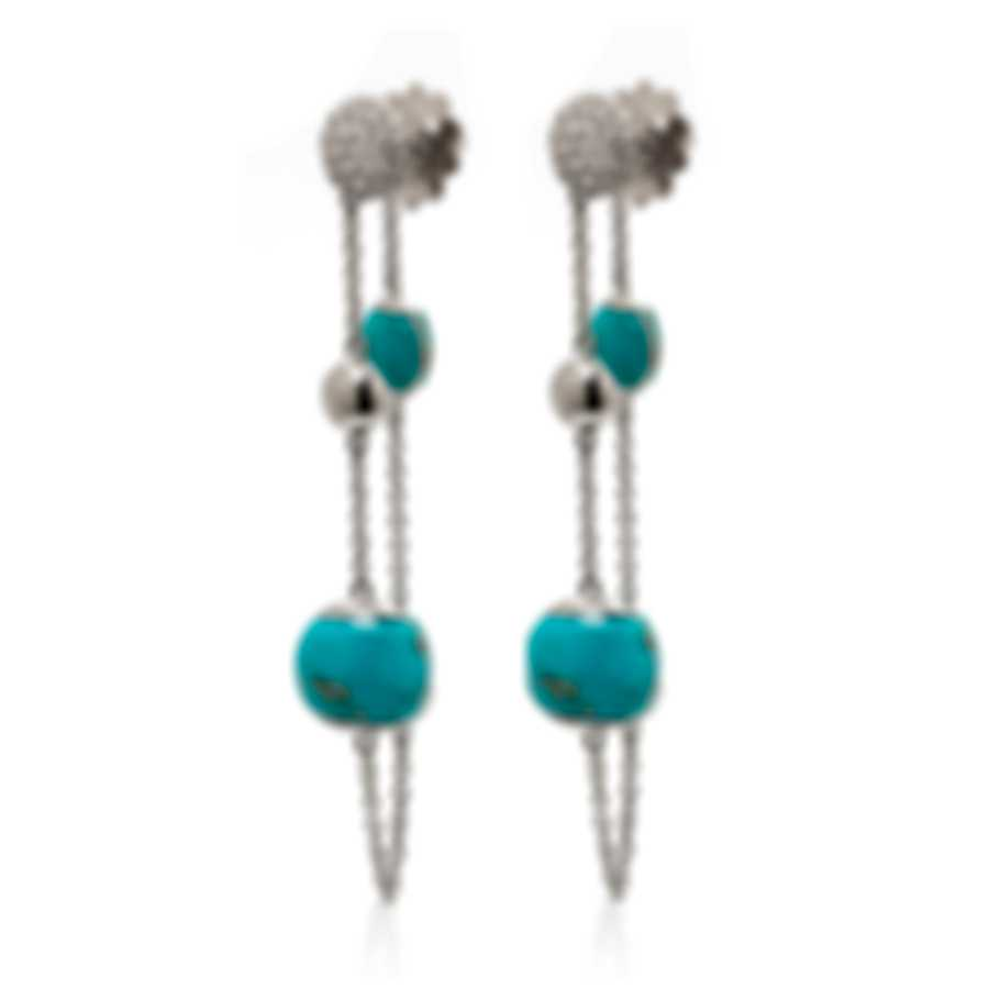 Roberto Coin 18k White Gold Diamond Ct And Turquoise Earrings 8882377AWERJX