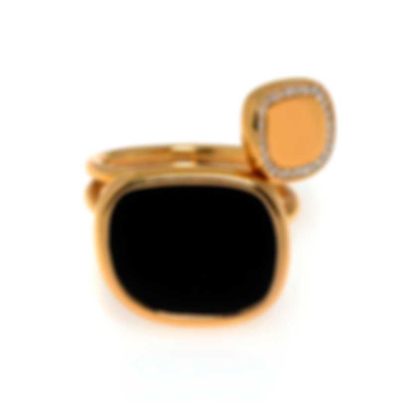 Roberto Coin 18k Rose Gold Diamond 0.14ct And Jade Ring Sz 7 888613AX70JX