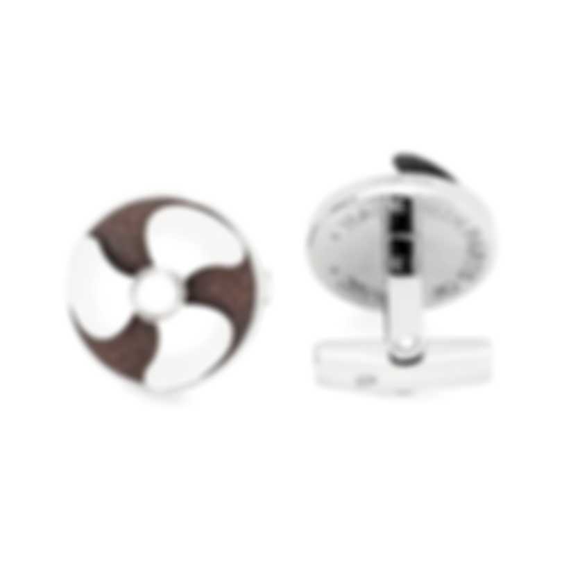 Romain Jerome Silver And Brown Stainless Steel Cufflinks RJ.T.HE.002.01 MSRP $650