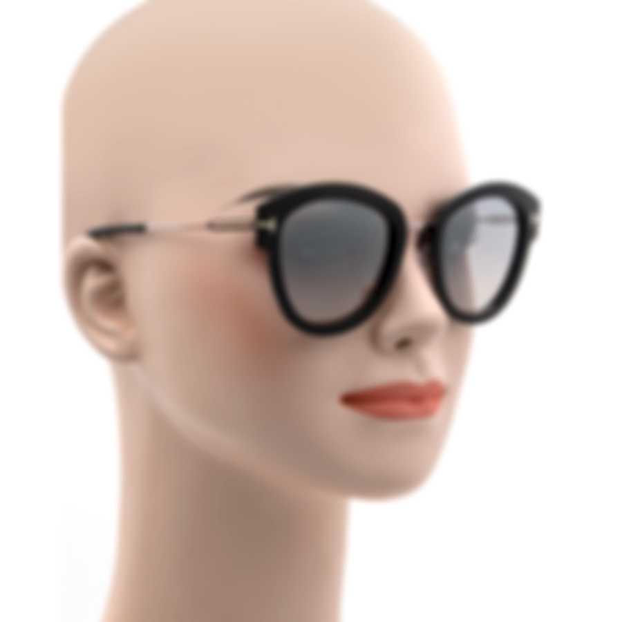 Tom Ford Shiny Light Ruthenium & Smoke Cateye Sunglasses FT0574-5214C
