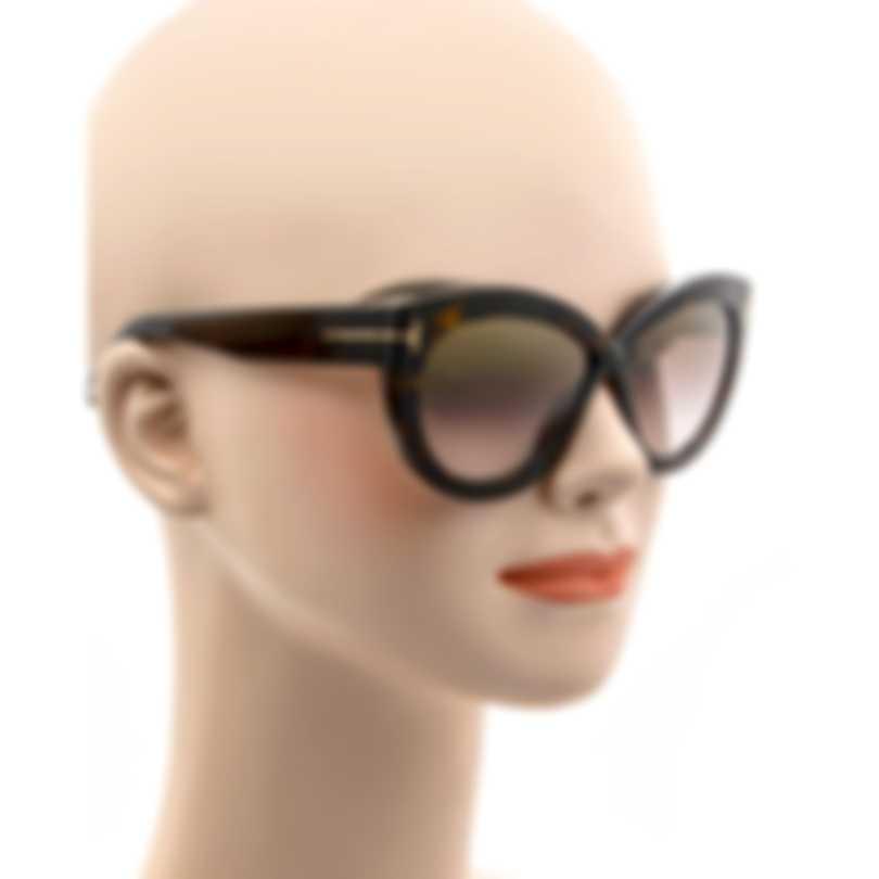 Tom Ford Dark Havana & Brown Cateye Sunglasses FT0577-5652G