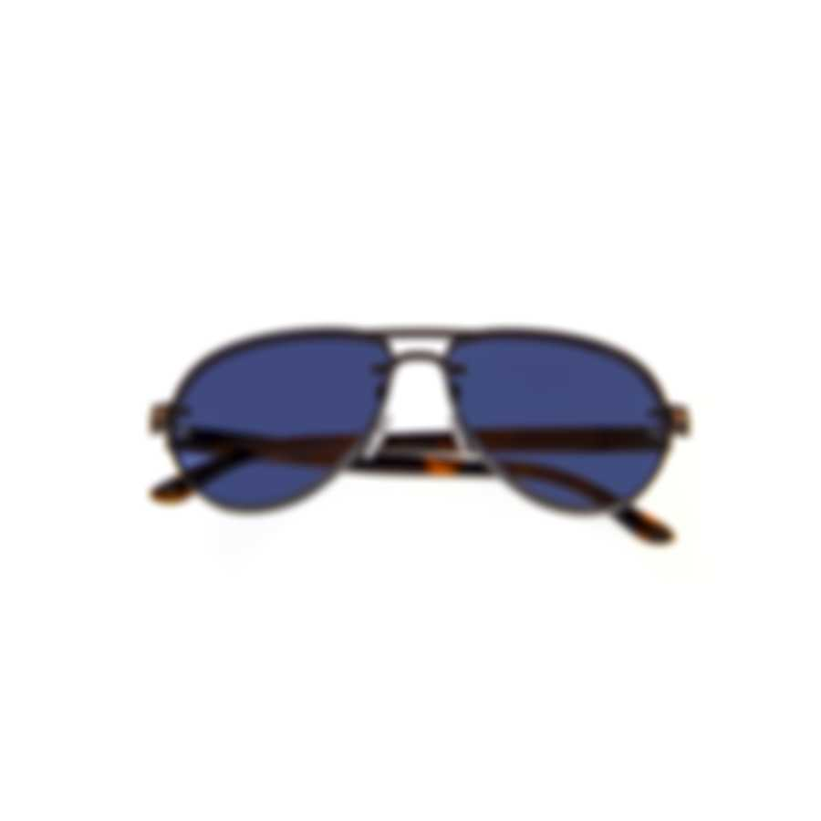 Tom Ford Matte Ruthenium Havana Blue Aviator Style Sunglasses FT0622-6212V
