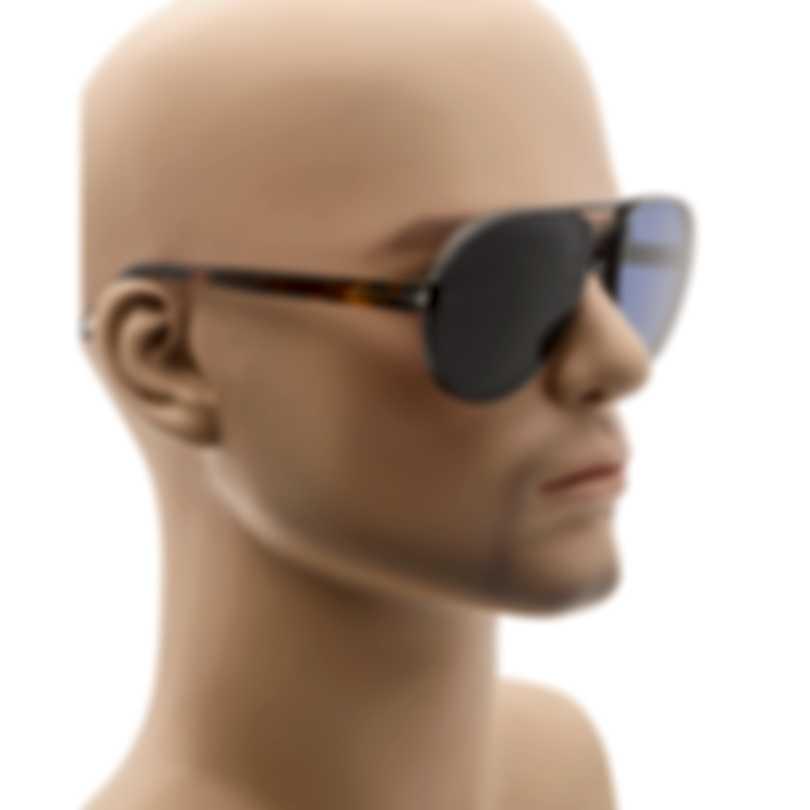Tom Ford Matte Ruthenium Havana Blue Aviator Style Sunglasses FT0622-6212V