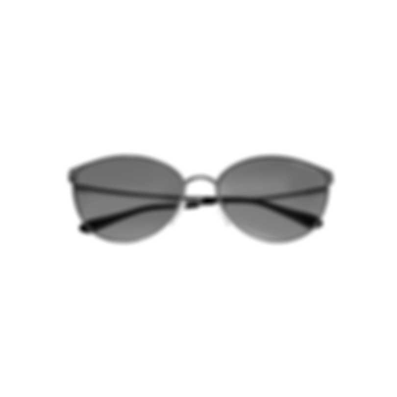 Tom Ford Shiny Rhodium & Smoke Cateye Sunglasses FT0654-6018C