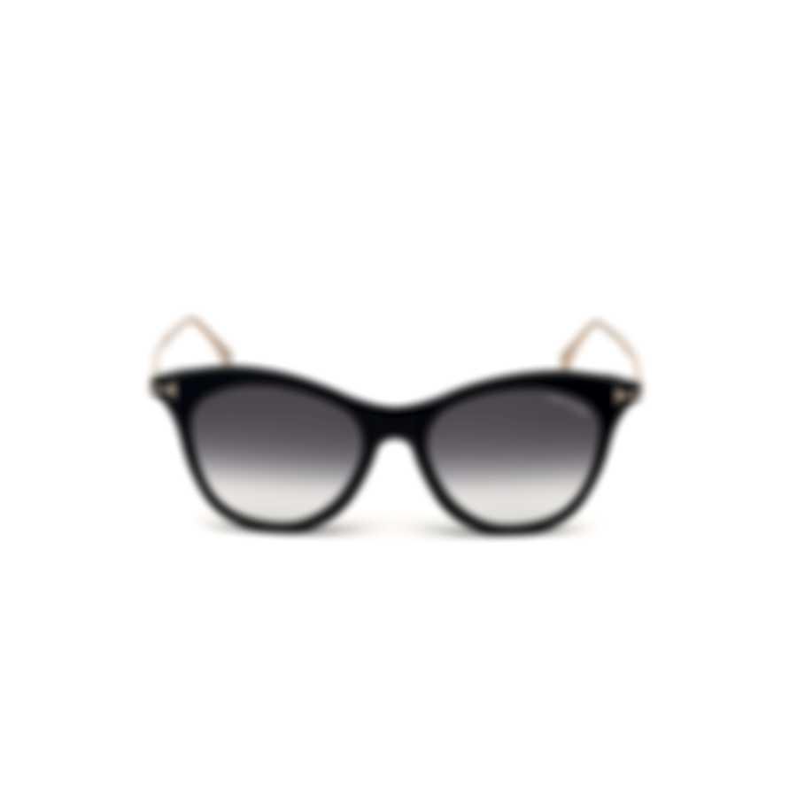 Tom Ford Shiny Black & Gradient Smoke Cat Sunglasses FT0662-5301B