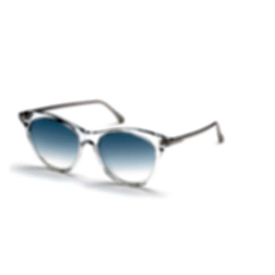 Tom Ford White/Crystal & Blue Mirror Cat Sunglasses FT0662-5322X