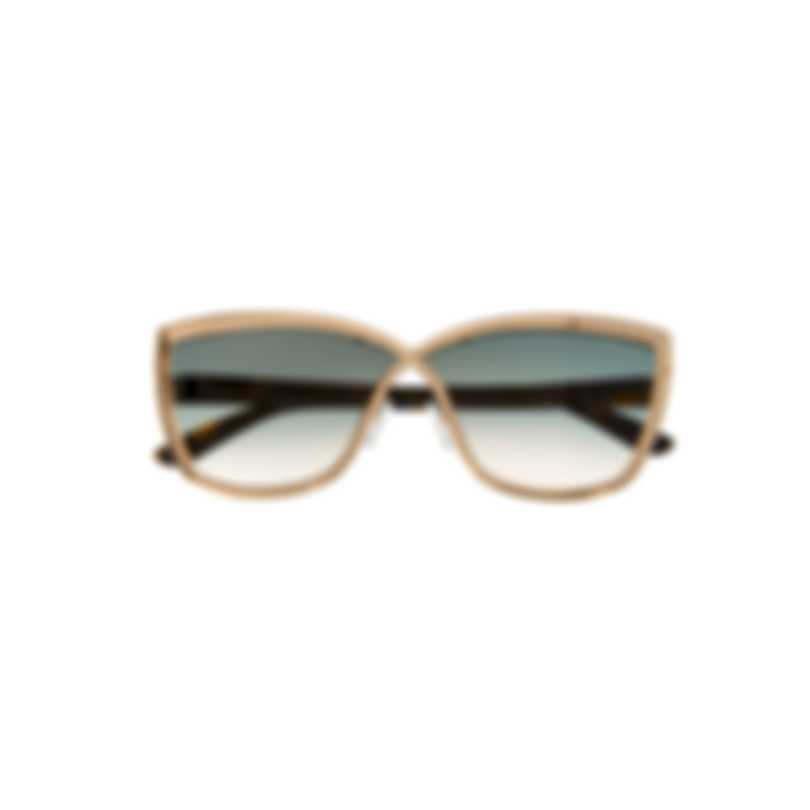 Tom Ford Shiny Rose Gold & Green Cateye Sunglasses FT0715-6828P