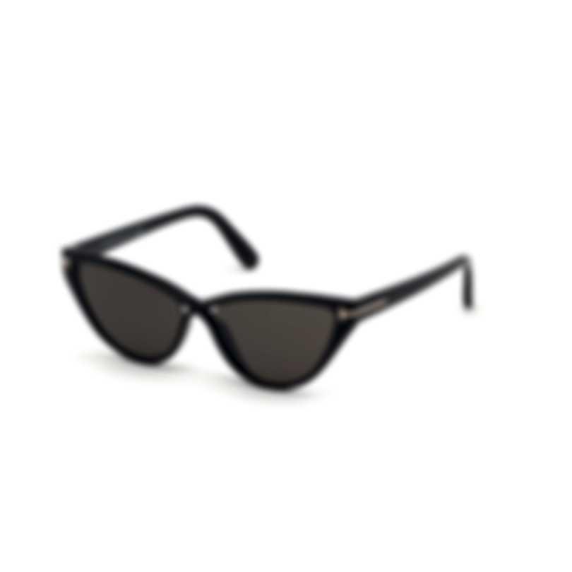 Tom Ford Shiny Black & Smoke Cat Sunglasses FT0740-5601A