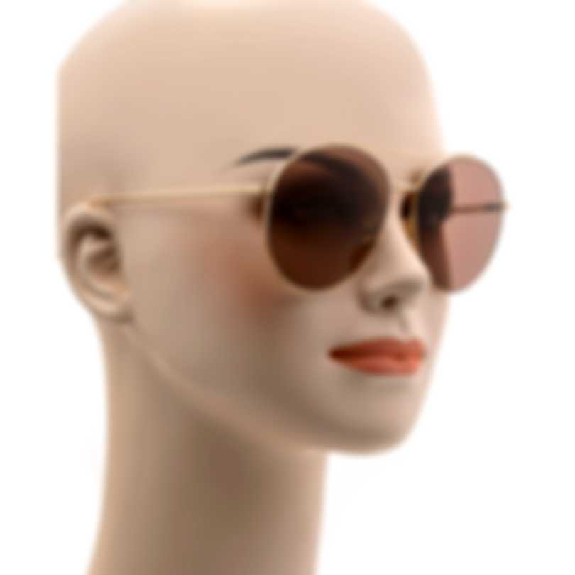 Tom Ford Shiny Rose Gold & Violet Aviator Style Sunglasses FT0757-5928Y