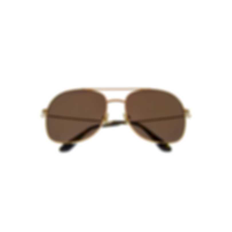 Tom Ford Shiny Rose Gold & Brown Aviator Style Sunglasses FT0758-5828E