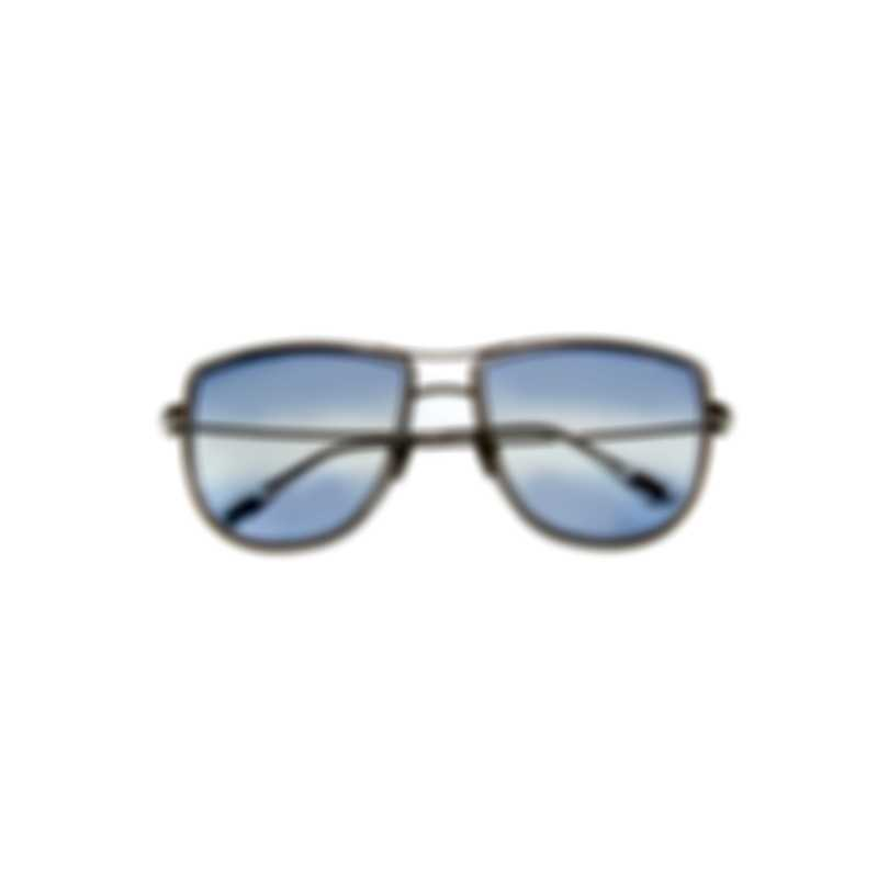 Tom Ford Shiny Palladium & Blue Aviator Style Sunglasses FT0759-5916W