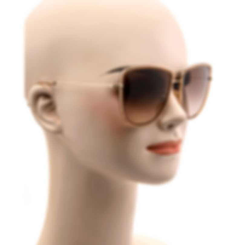 Tom Ford Shiny Rose Gold & Brown Aviator Style Sunglasses FT0759-5928F