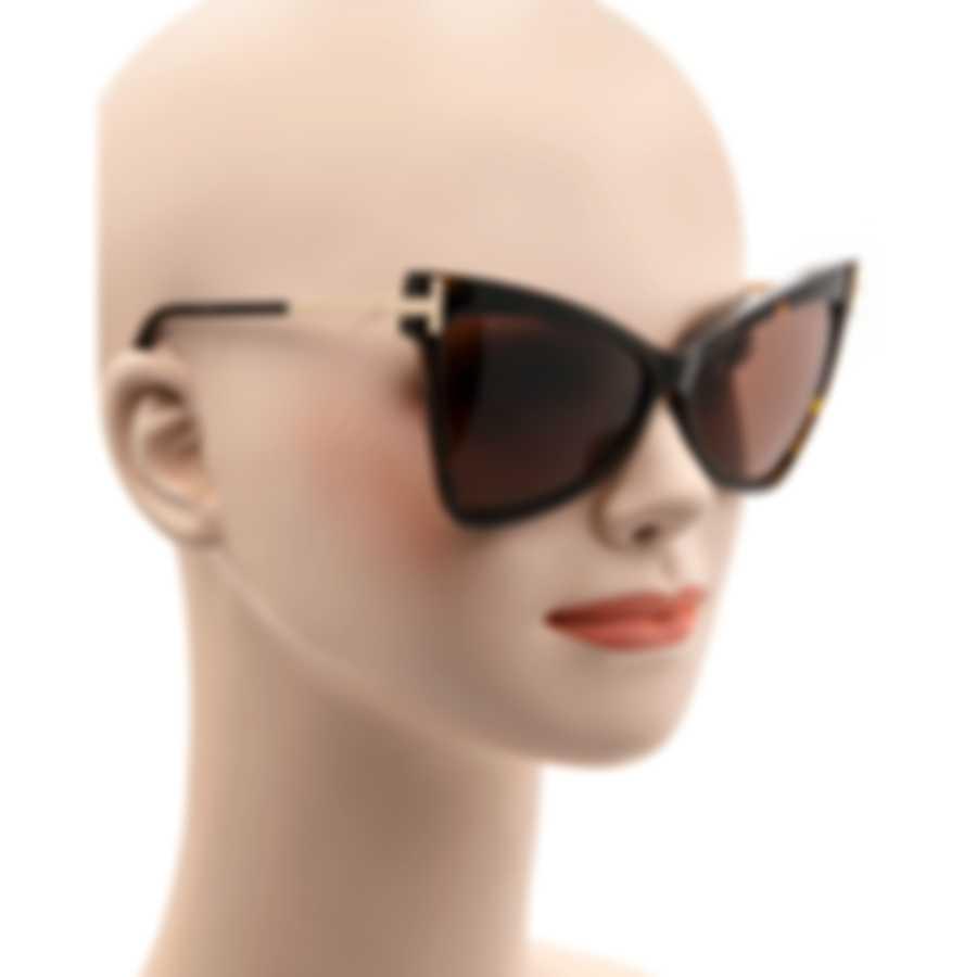 Tom Ford Dark Havana & Brown Butterfly Sunglasses FT0767-6152E