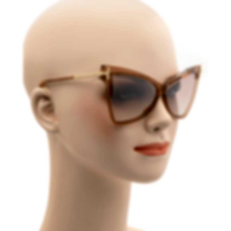 Tom Ford Shiny Beige & Brown Cateye Sunglasses FT0767-6157G