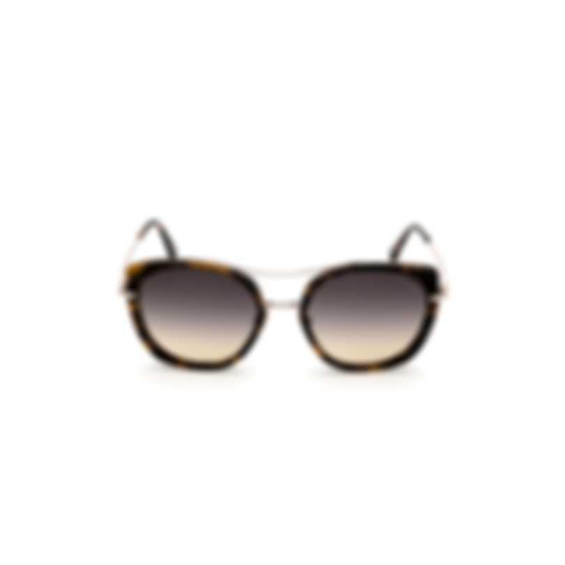 Tom Ford Coloured Havana & Gradient Smoke Round Sunglasses FT0760-5655B
