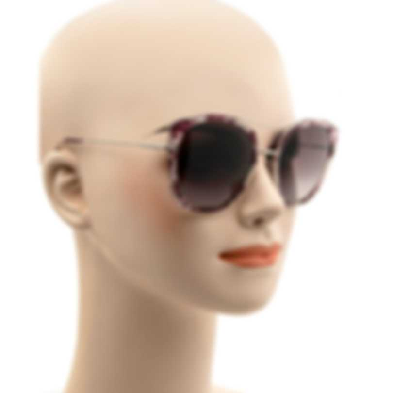 Tom Ford Purple Havana And Silver & Bordeaux Cateye Sunglasses FT0760-5656T