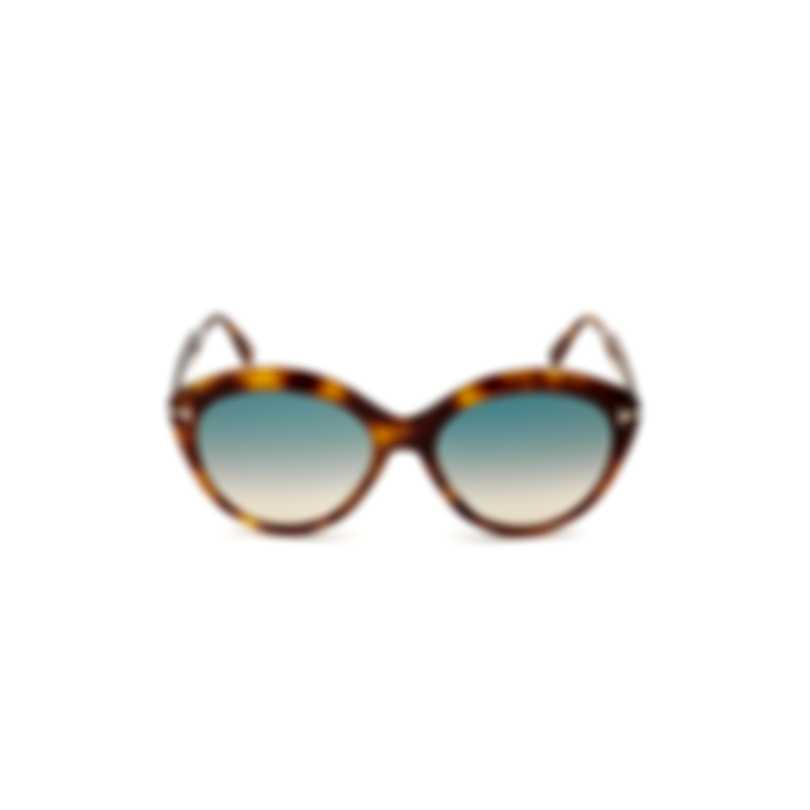 Tom Ford Blonde Havana & Gradient Green Round Sunglasses FT0763-5653P