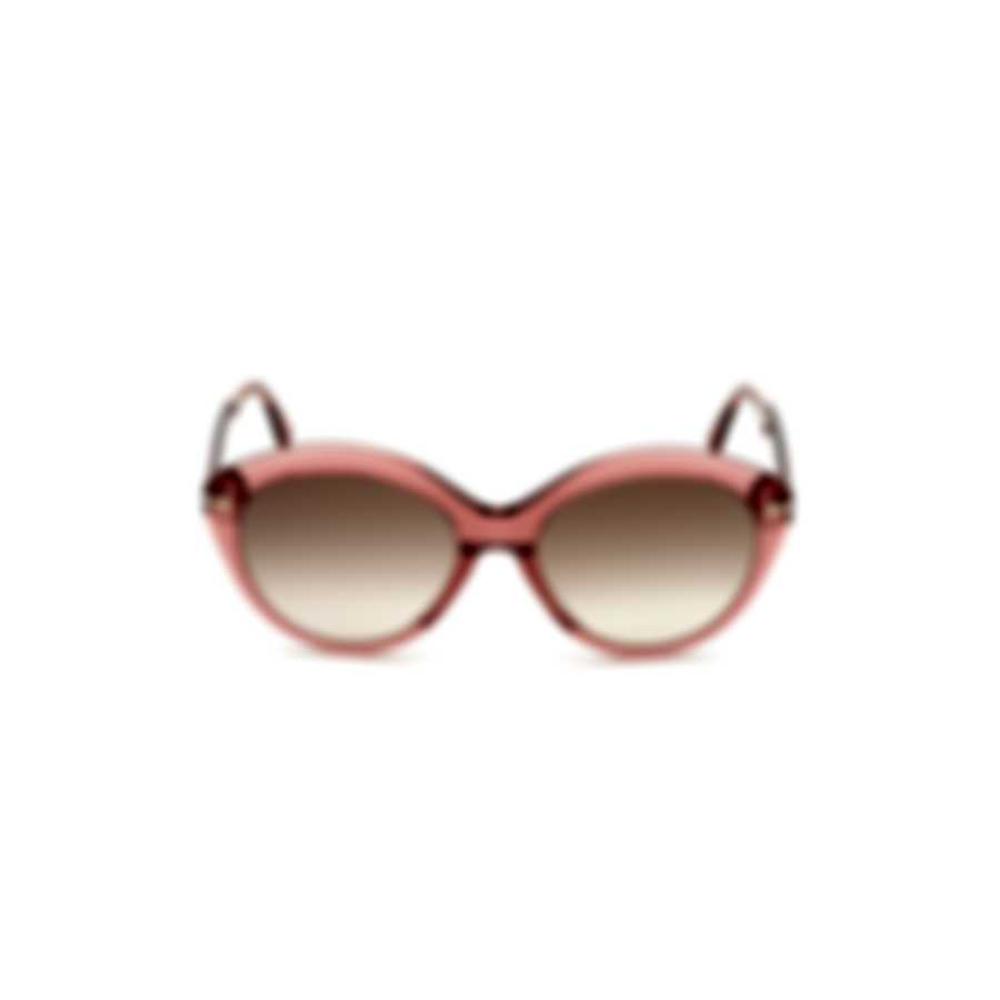 Tom Ford Shiny Pink & Gradient Brown Round Sunglasses FT0763-5672F