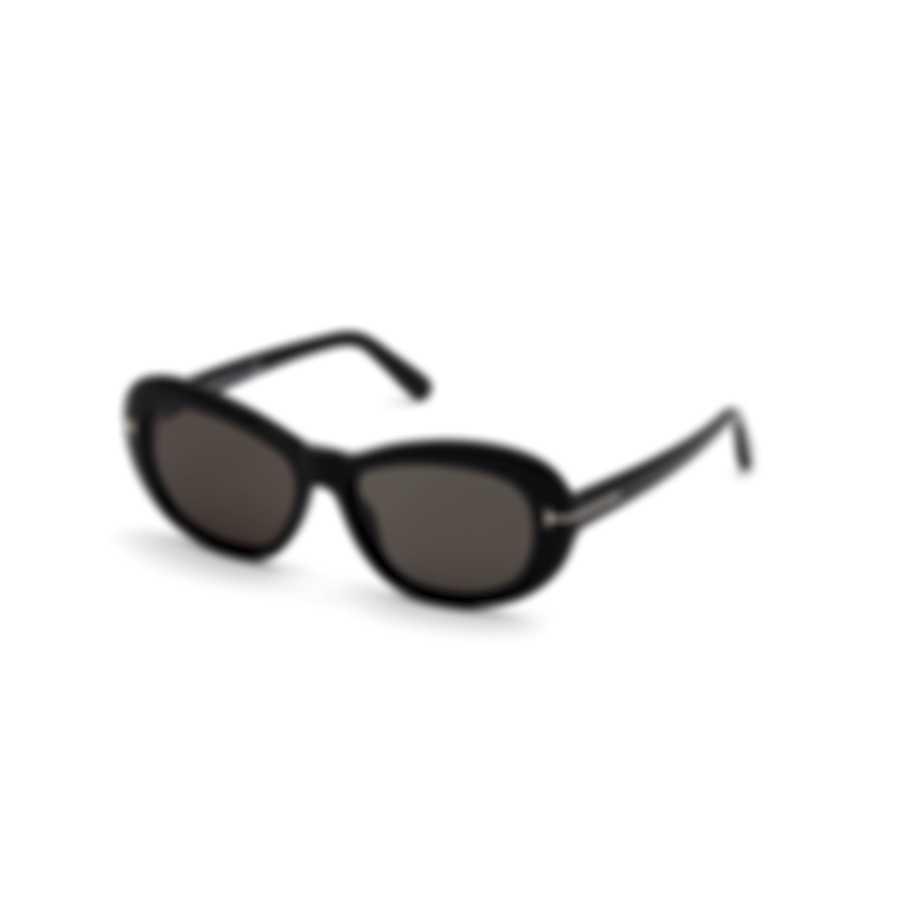 Tom Ford Shiny Black & Smoke Round Sunglasses FT0819-5401A
