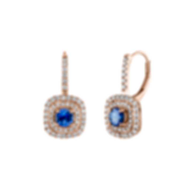 Tresorra 18k Rose Gold Diamond 0.60ct And Sapphire Earrings 141-RG-BS