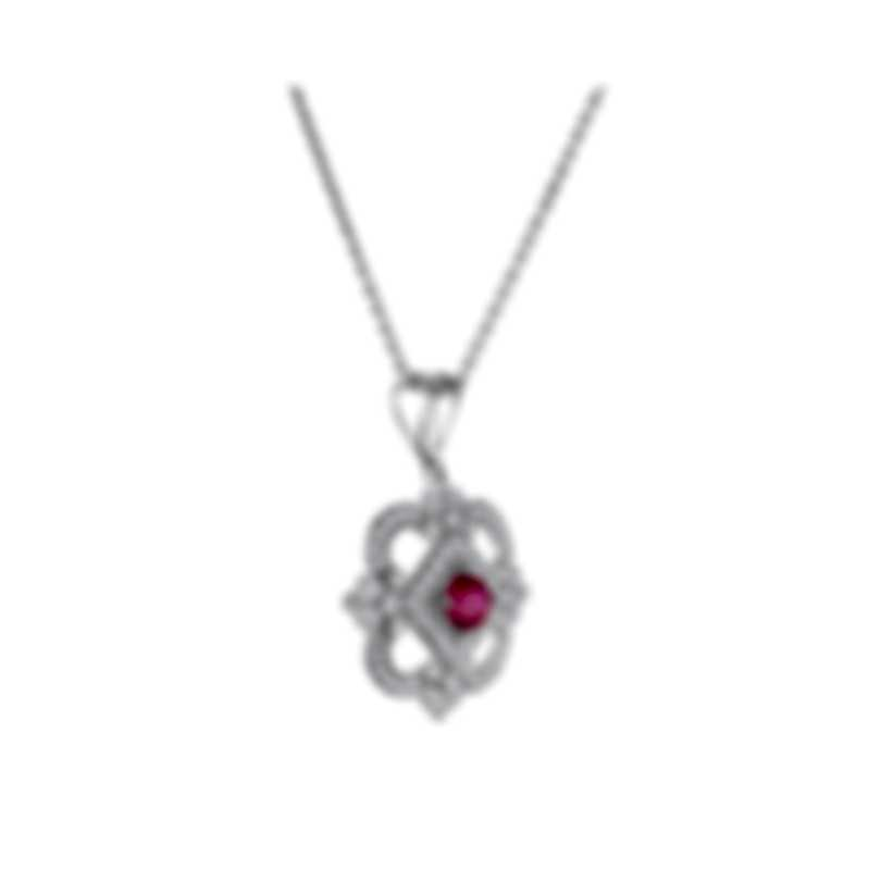 Tresorra 18k White Gold Diamond 0.50ct And Ruby Necklace 151-WG-RBY