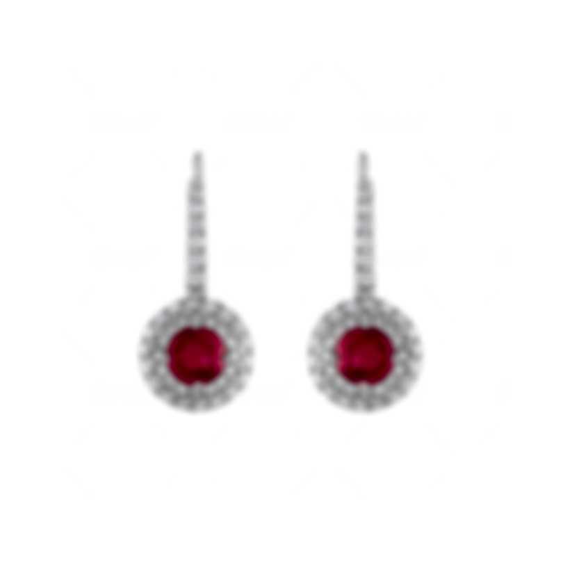 Tresorra 18k White Gold Diamond 0.55ct And Ruby Earrings 157-WG-RBY