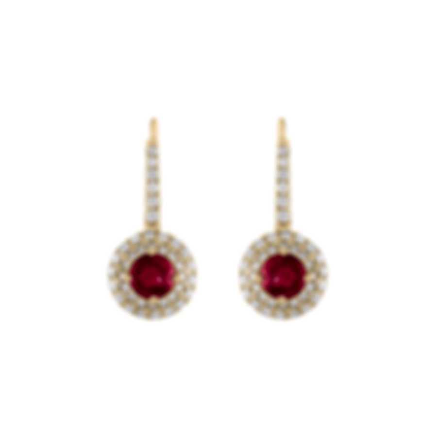 Tresorra 18k Yellow Gold Diamond 0.55ct And Ruby Earrings 159-YG-RBY