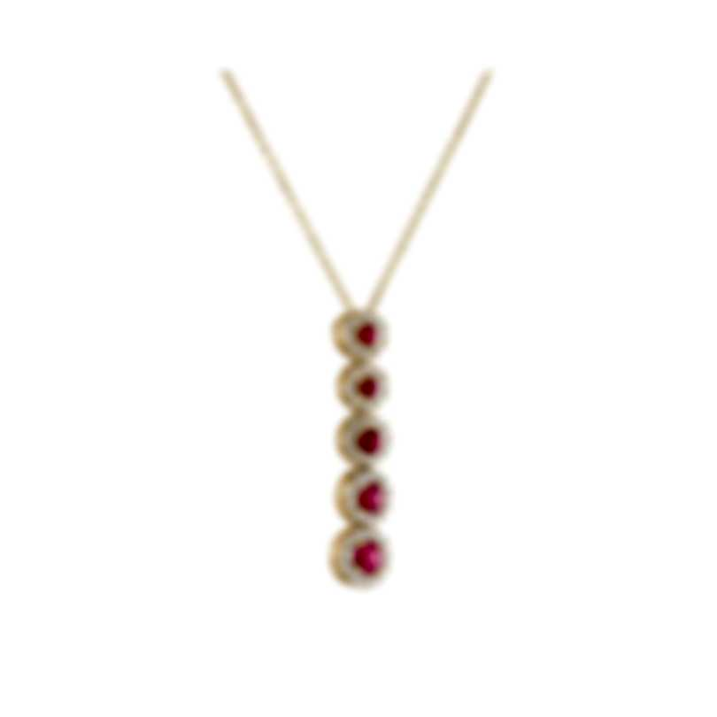 Tresorra 18k Yellow Gold Diamond 0.30ct And Ruby Necklace 163-YG-RBY