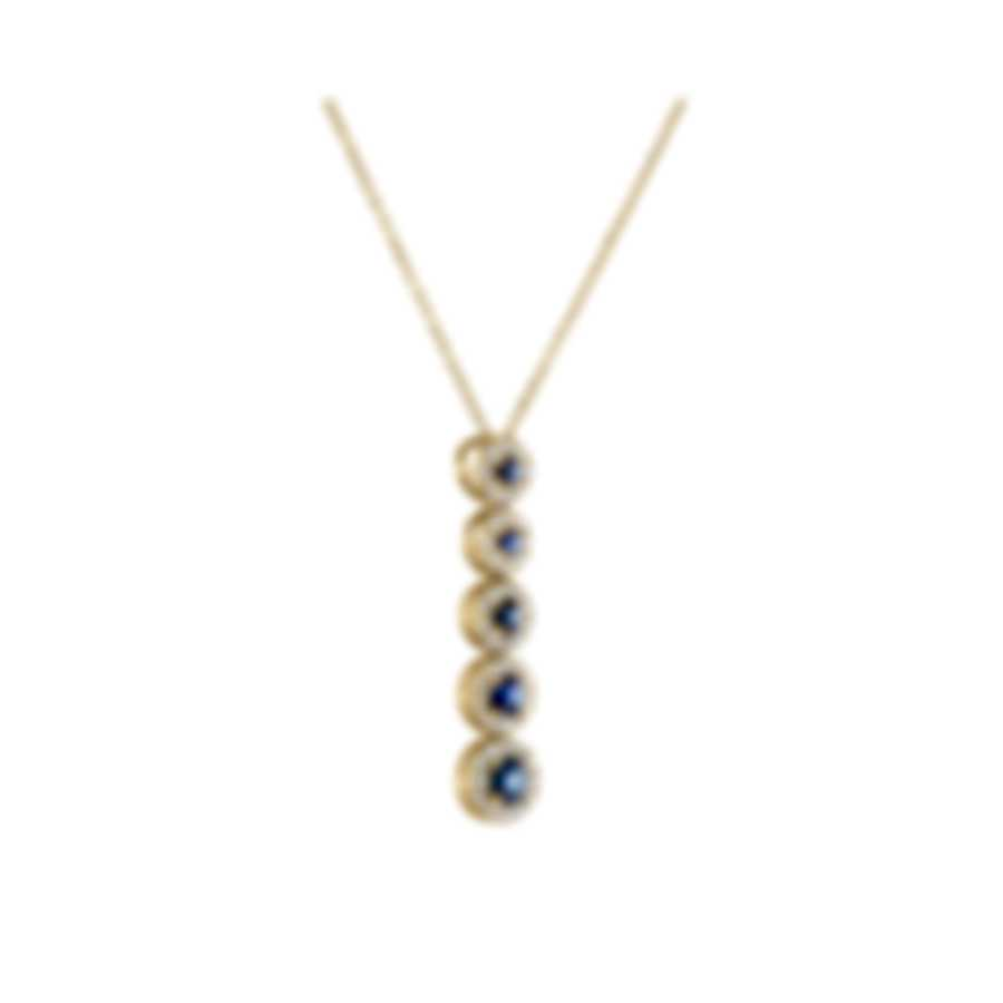 Tresorra 18k Yellow Gold Diamond 0.30ct And Sapphire Necklace 162-YG-BS