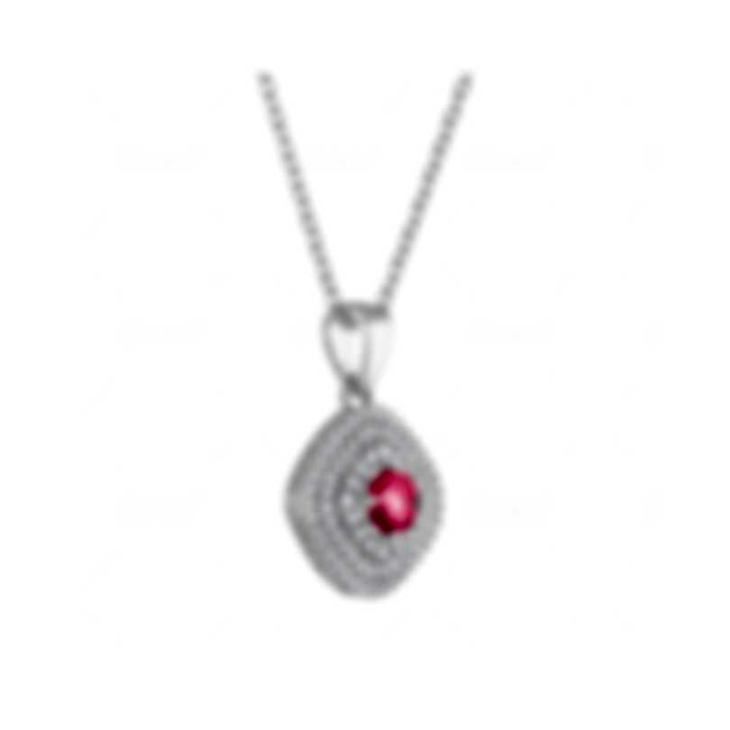Tresorra 18k White Gold Diamond 0.55ct And Ruby Necklace 165-WG-RBY