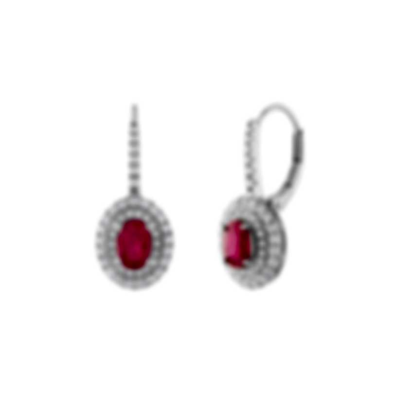 Tresorra 18k White Gold Diamond 0.70ct And Ruby Earrings 177-WG-RBY