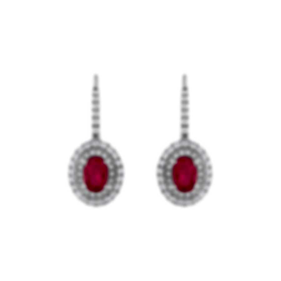 Tresorra 18k White Gold Diamond 0.70ct And Ruby Earrings 177-WG-RBY