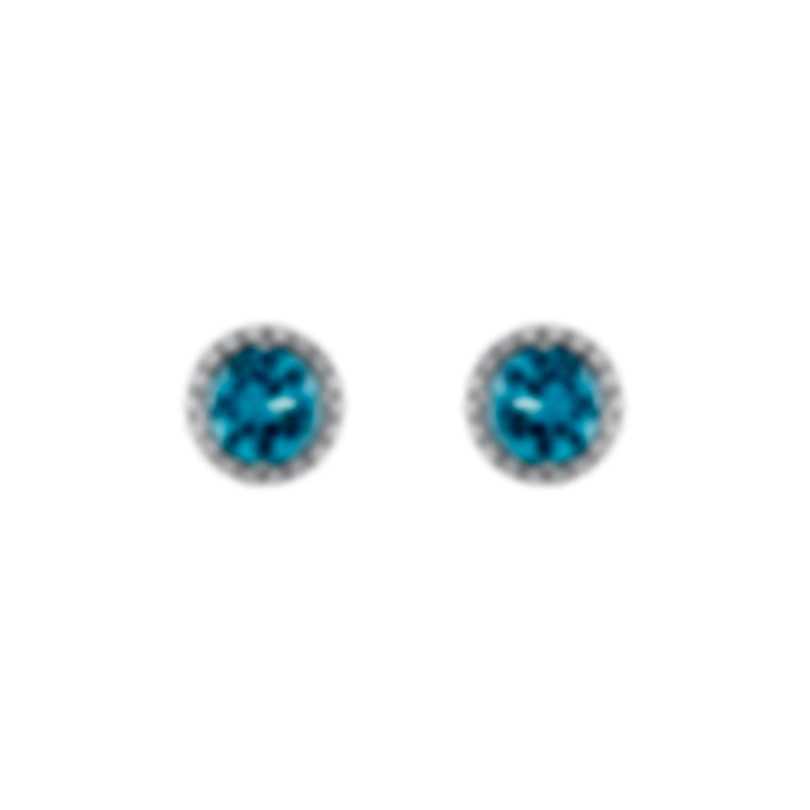 Tresorra 18k White Gold Diamond 0.40ct And Topaz Earrings 174-WG-TP