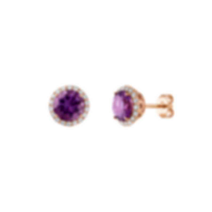 Tresorra 18k Rose Gold Diamond 0.40ct And Amethyst Earrings 175-RG-AM