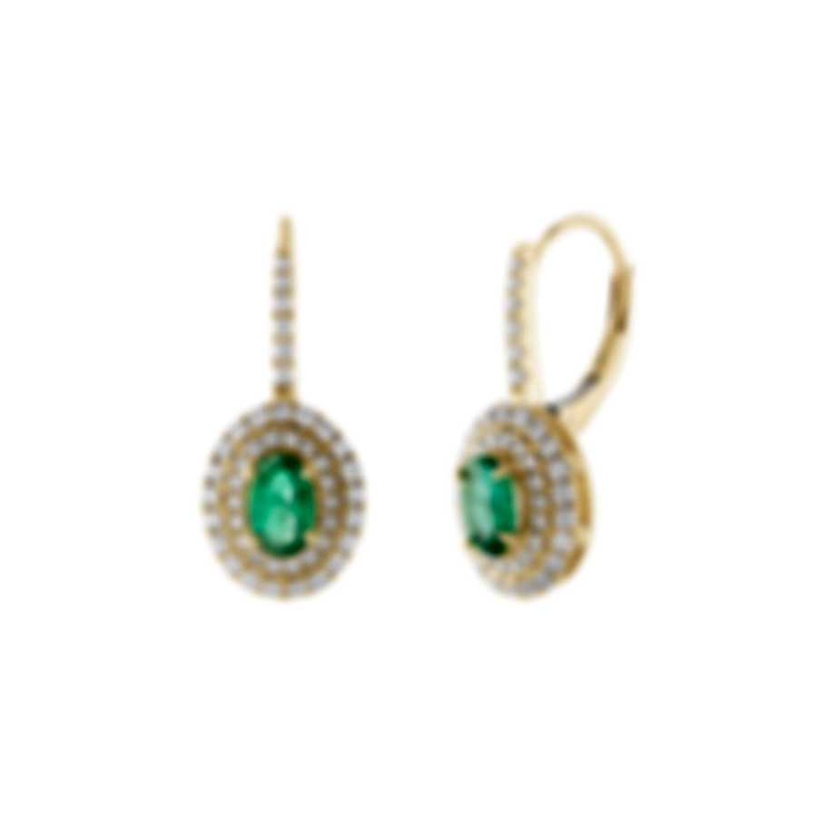 Tresorra 18k Yellow Gold Diamond 0.70ct And Emerald Earrings 179-YG-EM