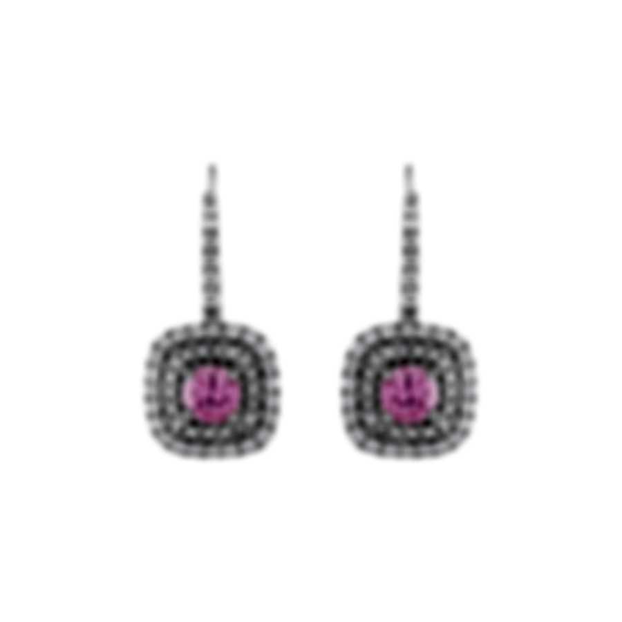 Tresorra 18k White Gold Diamond 0.60ct And Pink Sapphire Earrings 183-WG-PS
