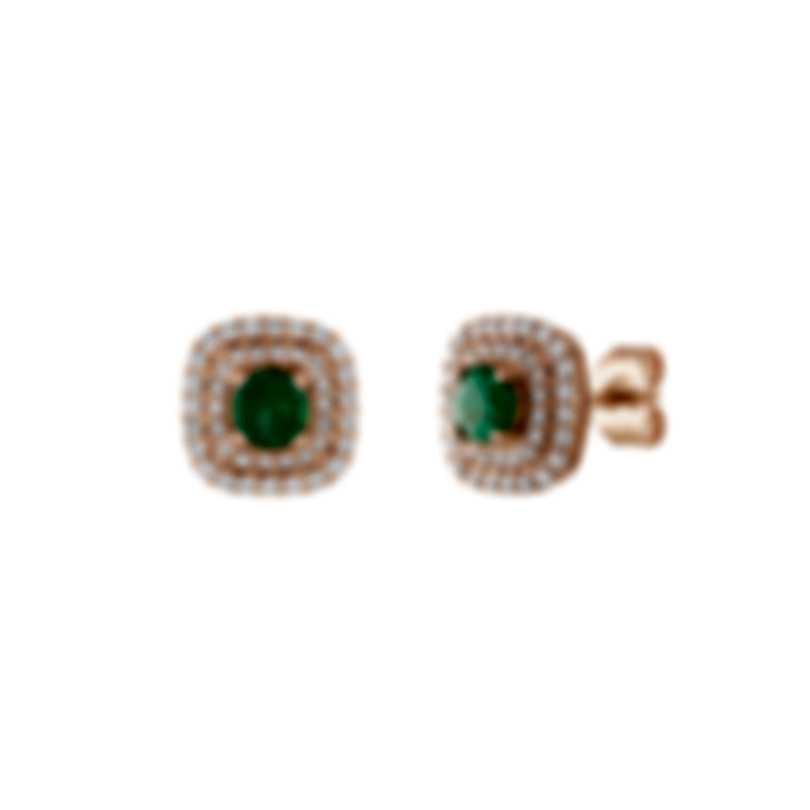 Tresorra 18k Rose Gold Diamond 0.50ct And Emerald Earrings 180-RG-EM
