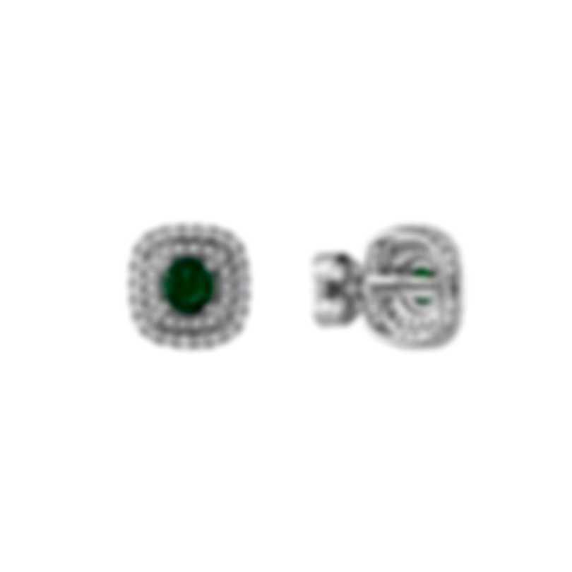 Tresorra 18k White Gold Diamond 0.50ct And Emerald Earrings 181-WG-EM