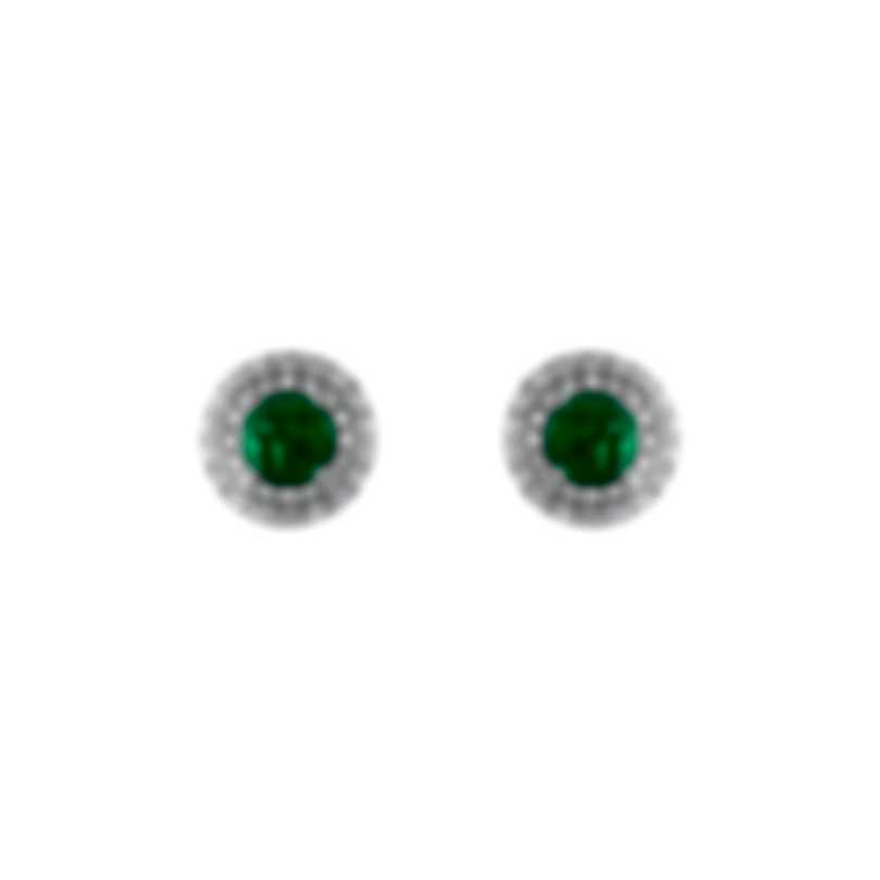 Tresorra 18k White Gold Diamond 0.50ct And Emerald Earrings 182-WG-EM