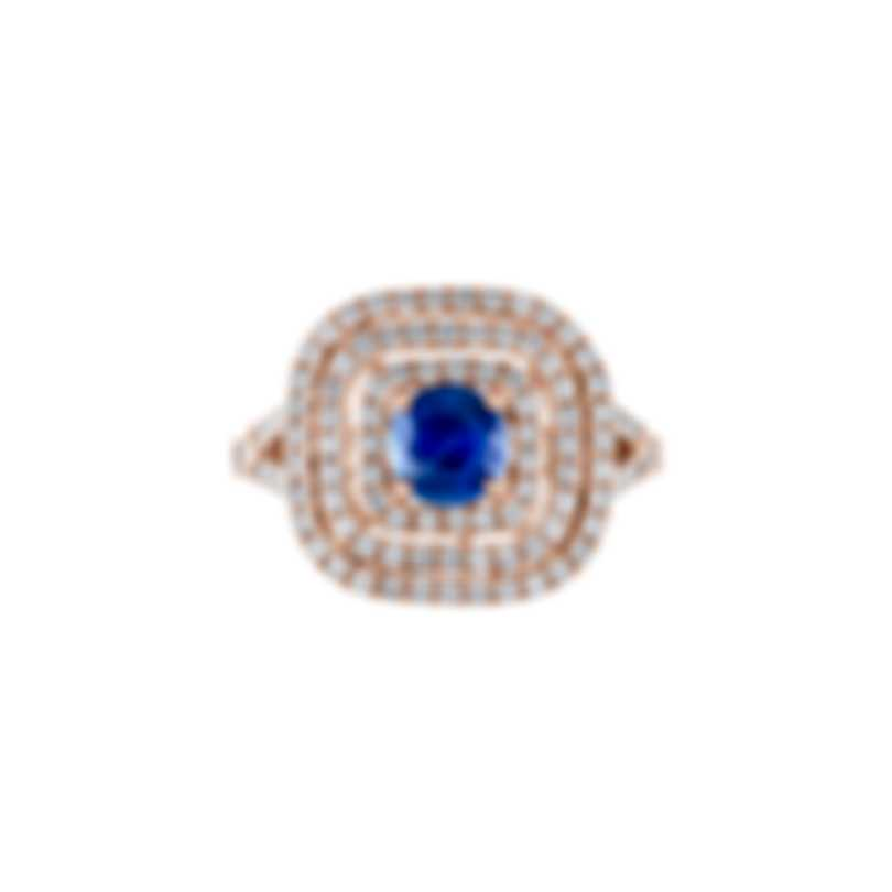 Tresorra 18k Rose Gold Diamond 0.70ct And Sapphire Ring Sz 6 185-RG-BS-R