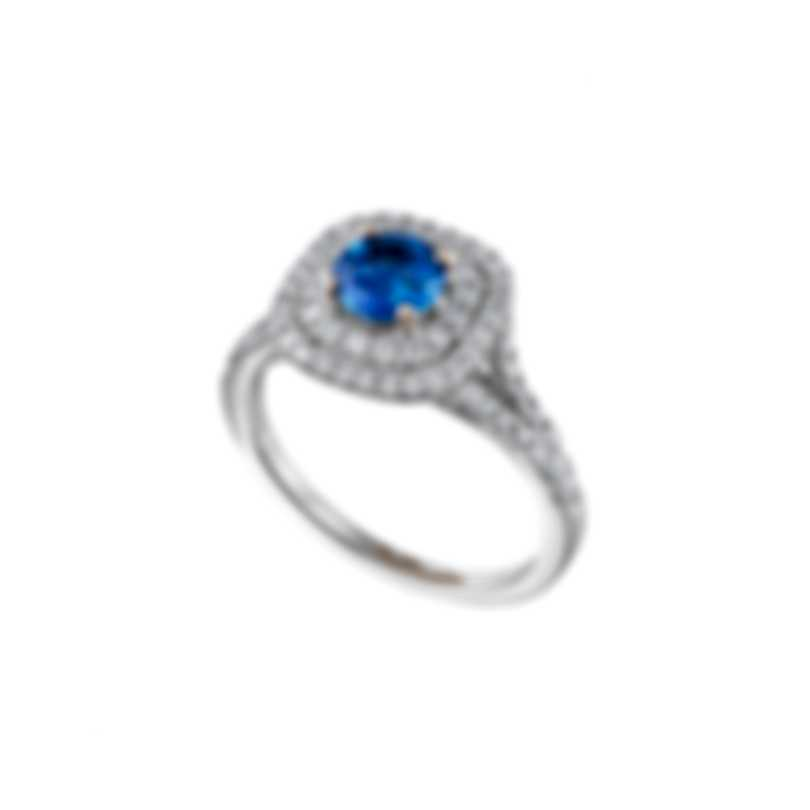 Tresorra 18k White Gold Diamond 0.50ct And Sapphire Ring Sz 6.5 186-WG-BS-R