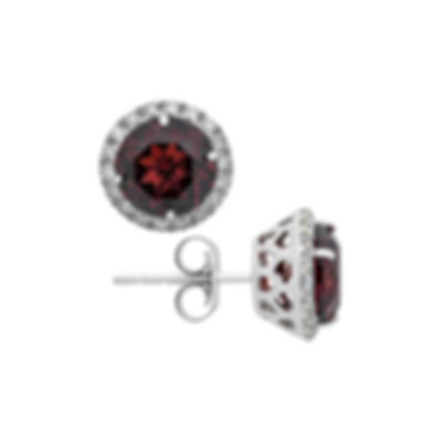 Tresorra 18k White Gold Diamond 0.40ct And Garnet Earrings 188-WG-GAR