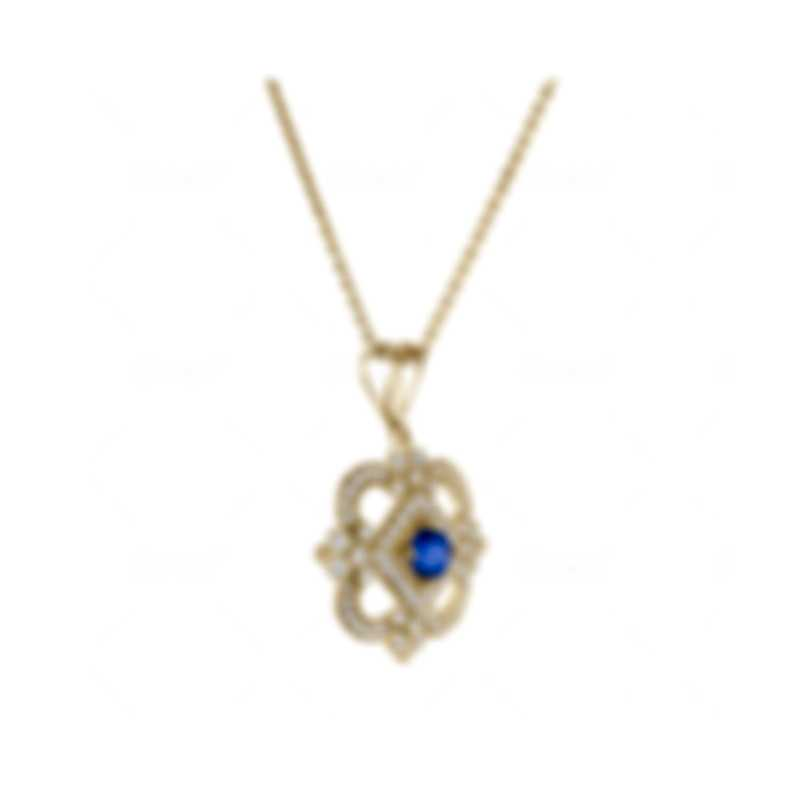 Tresorra 18k Yellow Gold Diamond 0.50ct And Sapphire Necklace 190-YG-BS