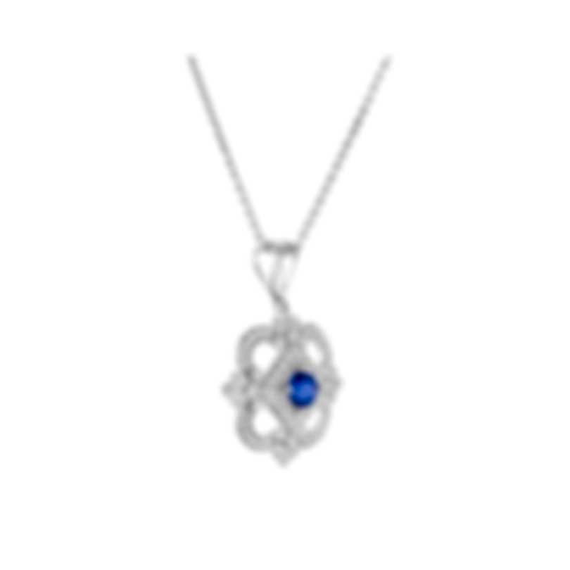 Tresorra 18k White Gold Diamond 0.50ct And Sapphire Necklace 191-WG-BS