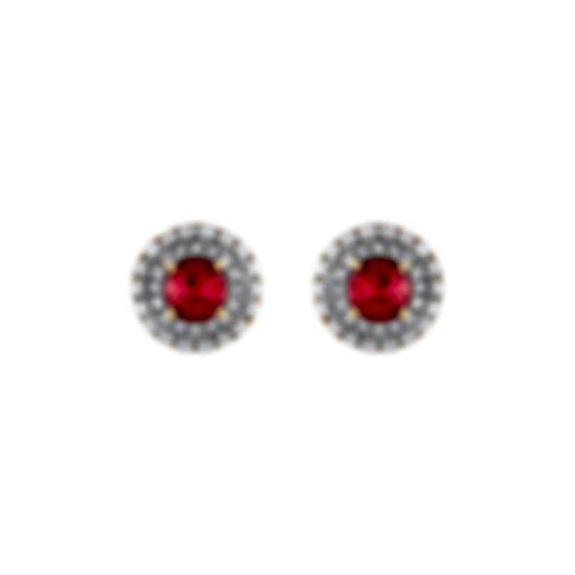 Tresorra 18k Yellow Gold Diamond 0.50ct And Ruby Earrings 103-YG-RBY