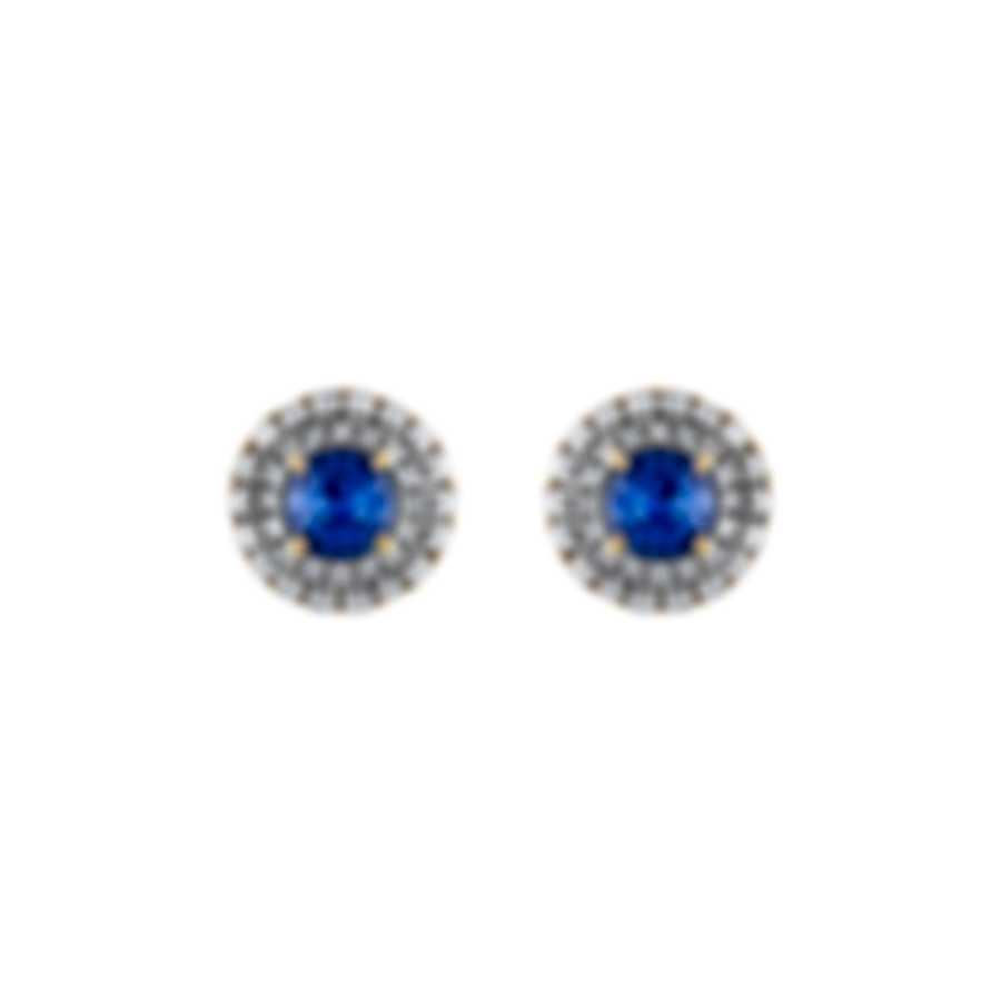 Tresorra 18k Yellow Gold Diamond 0.50ct And Sapphire Earrings 101-YG-BS