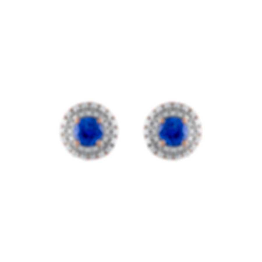 Tresorra 18k Rose Gold Diamond 0.50ct And Sapphire Earrings 102-RG-BS