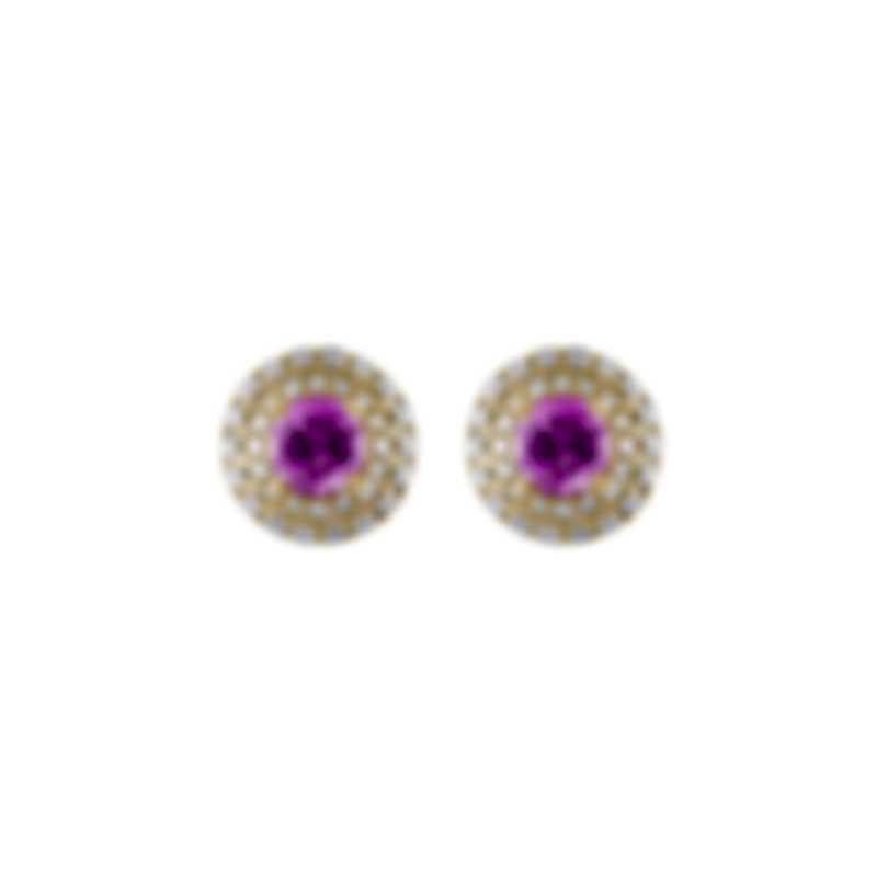 Tresorra 18k Yellow Gold Diamond 0.50ct And Pink Sapphire Earrings 107-YG-PS