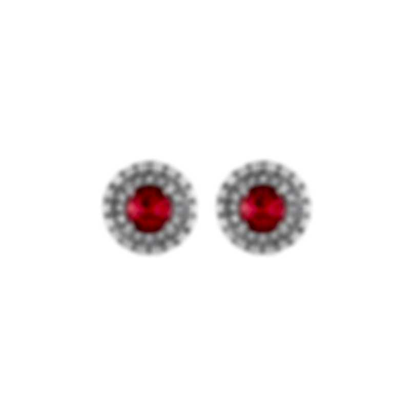 Tresorra 18k Rose Gold Diamond 0.50ct And Ruby Earrings 105-RG-RBY